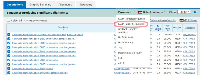 16S CT Query RefSeq Blast Result Exclude Download